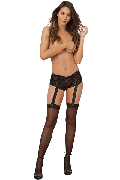 Stretch Lace Pantyhose Shorts with Attached Thigh Highs