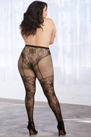 Pantyhose with High-Waisted Lace Panty Design