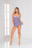 Two piece lace and mesh babydoll and panty set