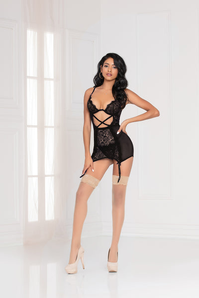 Two piece eyelash lace and mesh chemise and g-string set