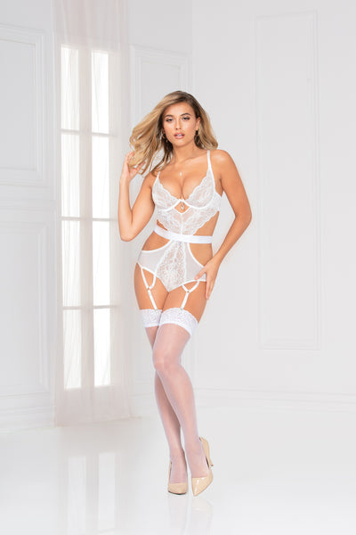 Floral galloon lace teddy with attached garters