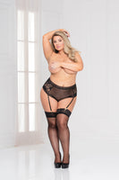 Lace and dotted mesh high waist with back lace-up detail and removable garters