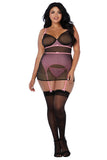 Flocked pin dot and stretch mesh garter slip
