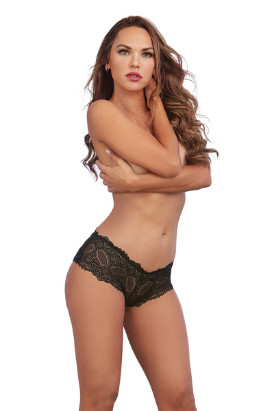 Galloon Lace and Microfiber Panty with Peek-A-Boo Back