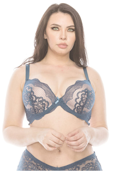 Two Tone Floral Lace Overlay Coverage Bra