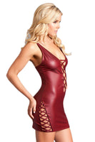 Faux Latex Cross Strap Mini Dress
