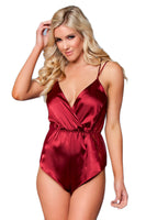 Plunging Satin Romper with Lace Trim