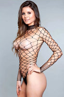Open Back Wide-Fishnet Bodysuit