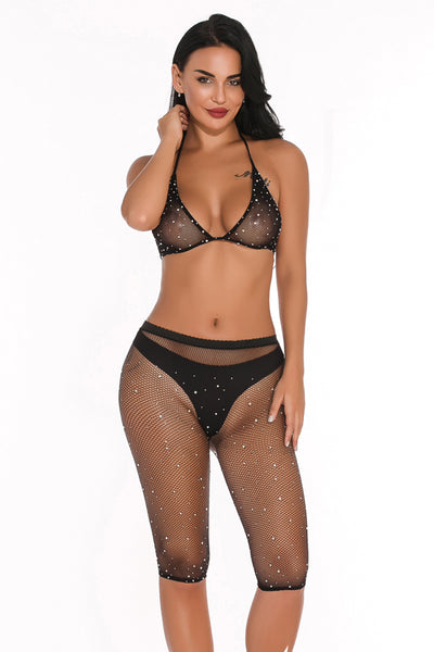 Sexy Two-Piece Rhinestone Set