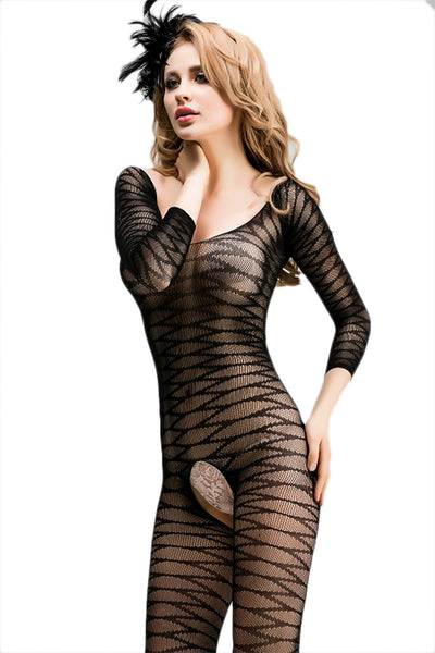 Sheer Fishnet Long Sleeve Bodysuit (3 Pack)