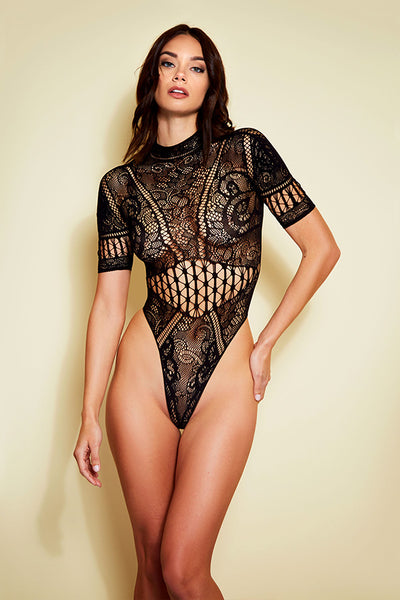 Lace Mock Neck Thong Teddy