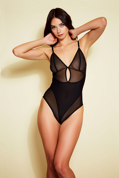Crotchless Stretch Mesh Teddy