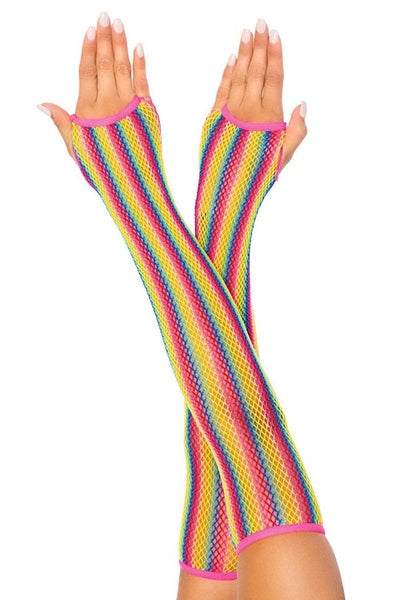 Rainbow Fishnet Arm Warmers