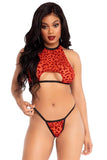 2 PC Velvet Leopard Crop Top n Panty