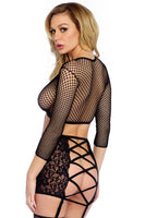 Fishnet and Lace Crop Top and Skirt