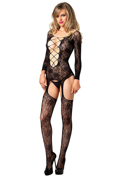 Floral Criss Cross Bodystocking