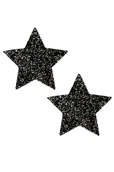 Black Sparkle Glitter Star Pasties