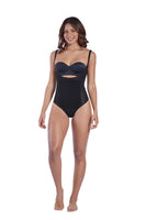 Thermal open bust thong bodysuit