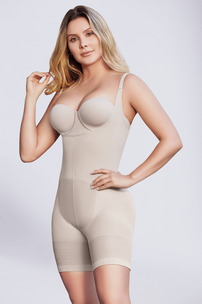 Open bust thermal short bodyshaper
