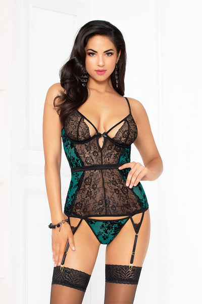 Flocked Mesh Bustier with Garter