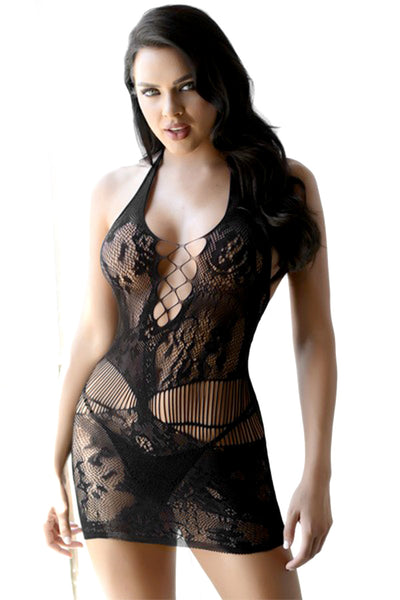 Lacey Fishnet Halter Bodystocking