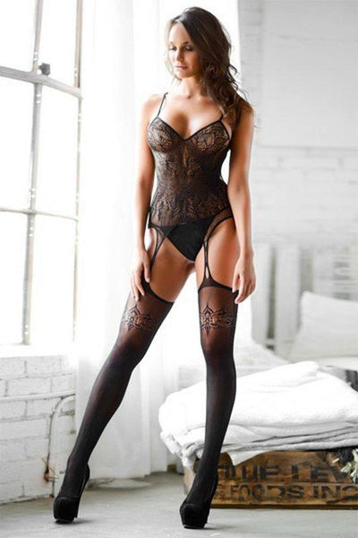 Delicate Lace Dress With Stockings