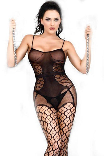 Fishnet Clover Pattern Bodystocking
