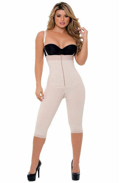 Calf-length Full Body Shaper with Belly & Crotch Zipper