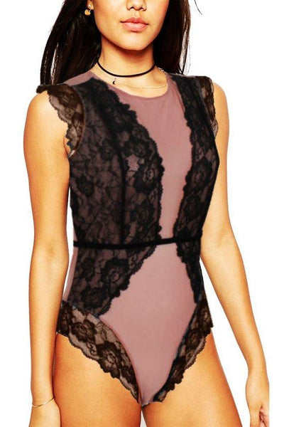 Sheer & Lace Open Back Leotard