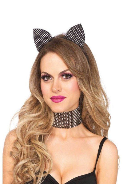 Rhinestone Cat Ear Headband & Choker Set