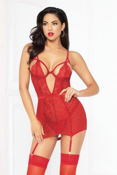 Lace and Mesh Chemise Set with Thong