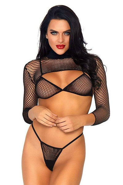 3Pc Net Bikini Top Thong Crop Top