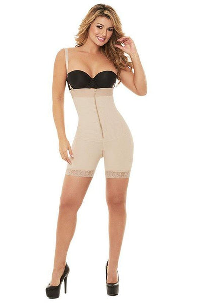 Mid-thigh Body Shaper with Belly & Zipper Crotch