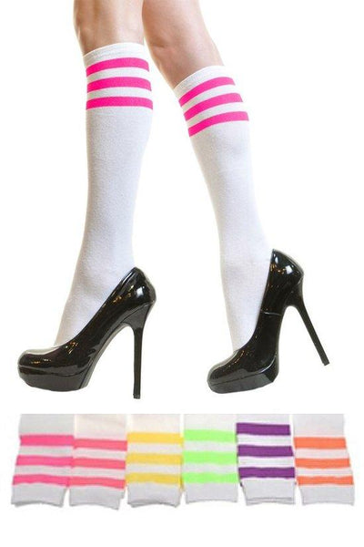 Knee High Socks with Neon Stripes