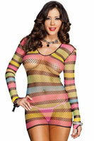 Rainbow Striped Fishnet Mini Dress