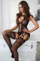 Sheer Bodysuit with Attached Stocking