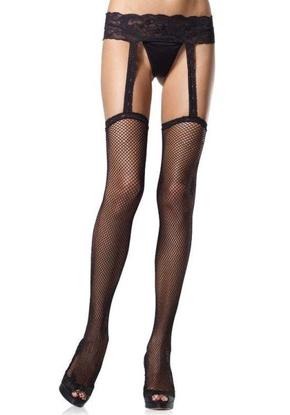 Fishnet Garterbelt Stockings with Lace Waist