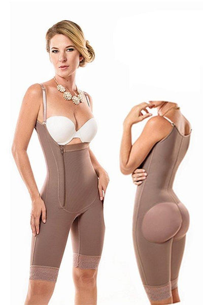 Full Body Shaper with Straps & Lateral Zipper