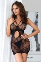 Lace Mini Dress with Keyhole