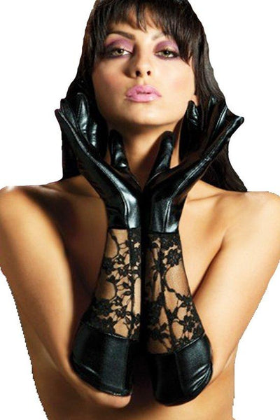 Lace and Latex Elbow Length Gloves