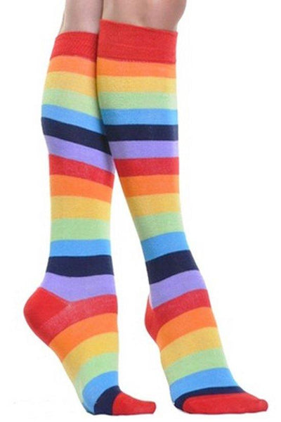 Knee High Rainbow Striped Socks