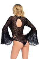 Bell Sleeved HighNeck Lace Bodysuit