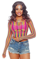 Rainbow Fishnet Long Sleeved CropTop
