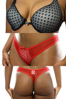 Matching Heart-Themed Lace Bra & Thong Set