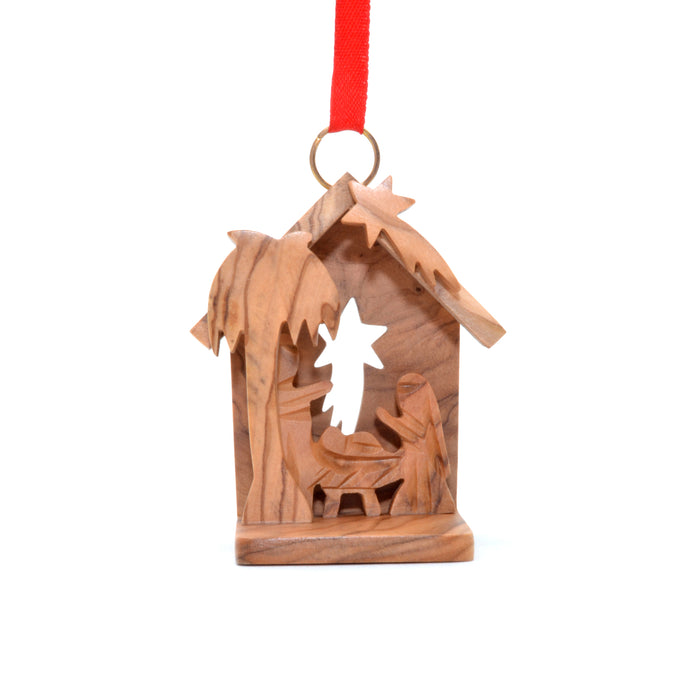 Olive Wood Creche 3-D Ornament
