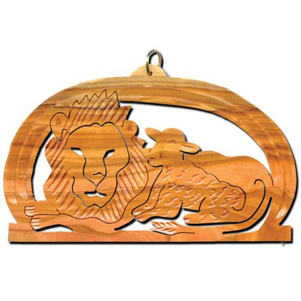 Olive Wood Lion and Lamb Ornament