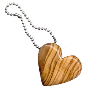 Olive Wood Heart Keychain