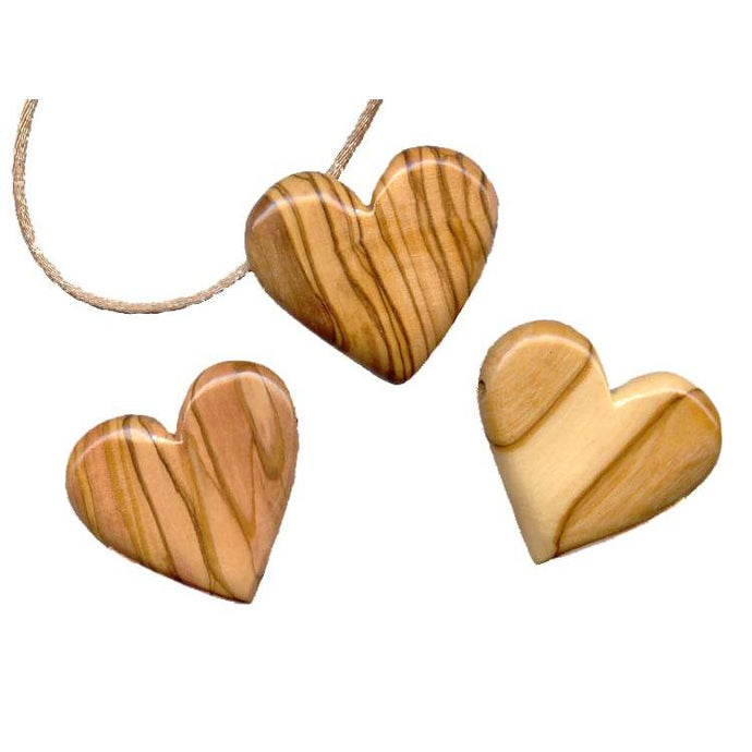 Beautiful Olive Wood Heart Necklace Handcrafted by Holy Land Designs Artisans