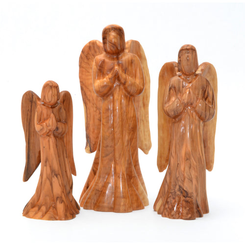 Olive Wood Angel Figures Set of 3