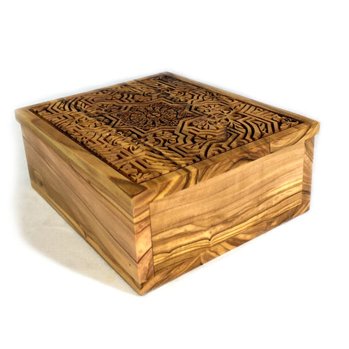 Immerse yourself with Aladdin's Treasure every glance you take at this ornate handmade olive wood decorative box. Perspective View.